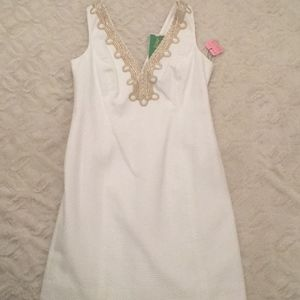 NWT Lilly Pulitzer White Dress with Gold Detailing